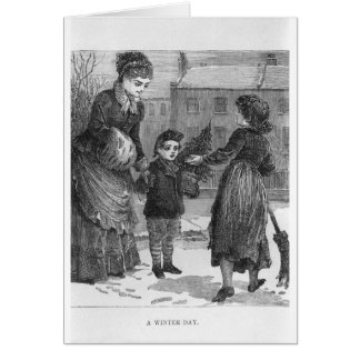 A Winter Day Victorian Christmas Scene Card