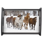 A winter scenic of running horses on The 2 Serving Tray
