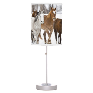 A winter scenic of running horses on The 2 Table Lamp