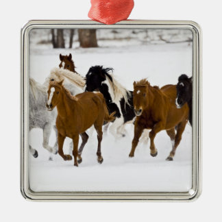 A winter scenic of running horses on The Silver-Colored Square Ornament
