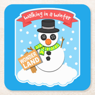 A Winter Wonderland II Square Paper Coaster