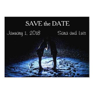A Winter Wonderland Kiss Save the Date Card