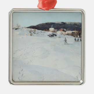 A Winter's Day in Norway, 1886 Silver-Colored Square Ornament