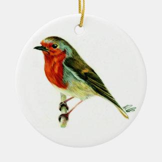 """A Winters Friend"" - Hanging plaque artwork & poem Round Ceramic Ornament"