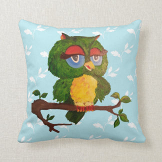 A Wise Old Owl Sitting On A Tree Branch Throw Pillow