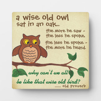 A Wise Old Proverb - Plaque