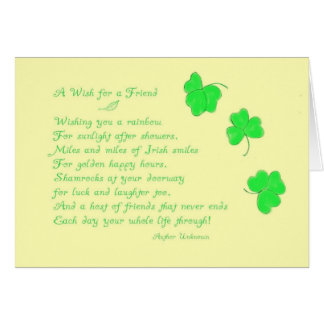A Wish for a Friend-St. Patrick's Day Greeting Card