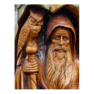 A Wizard and Owl Emerge From Cavern Postcard