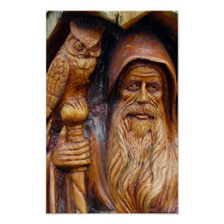 A Wizard and Owl Emerge From Cavern Poster