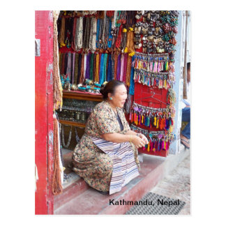 A Woman and Her Bead Shop Postcard
