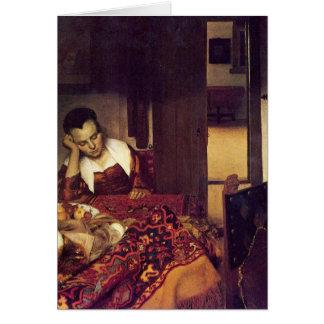 A woman asleep by Johannes Vermeer Card