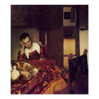 A woman asleep by Johannes Vermeer Poster