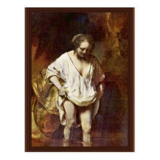 A Woman Bathing. By Rembrandt Van Rijn Postcard