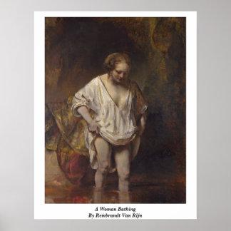 A Woman Bathing By Rembrandt Van Rijn Print