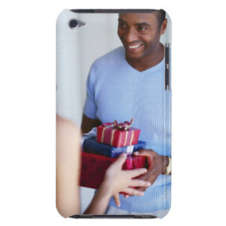 a woman gifting a young man barely there iPod covers
