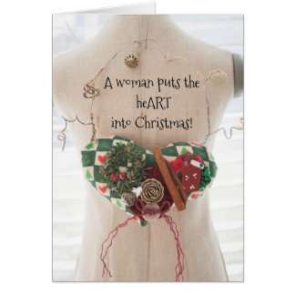 A Woman Puts the Heart into Christmas Card