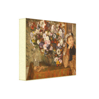 A Woman Seated beside a Vase of Flowers by Degas Canvas Print