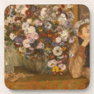 A Woman Seated beside a Vase of Flowers by Degas Coaster