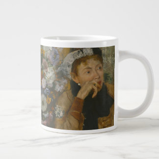 A Woman Seated beside a Vase of Flowers Large Coffee Mug