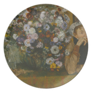 A Woman Seated beside a Vase of Flowers Plate