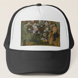 A Woman Seated beside a Vase of Flowers Trucker Hat