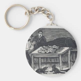 A woman who gave birth basic round button keychain