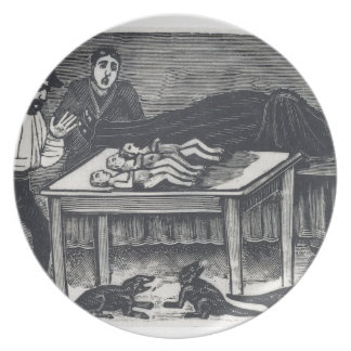 A woman who gave birth plate