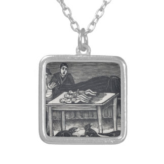A woman who gave birth silver plated necklace