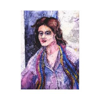 A Woman With A Scarf by AnnaSofia Canvas Print