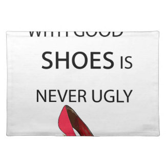 a woman with good shoes place mats
