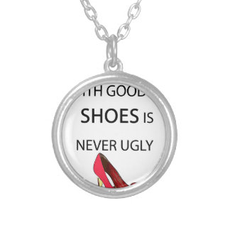 a woman with good shoes silver plated necklace