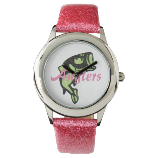 A woman's Glitter Anglers designer watch (Pink)
