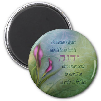 A Womans Heart - Calla Lily 2 Inch Round Magnet