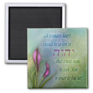 A Womans Heart - Calla Lily Square Magnet