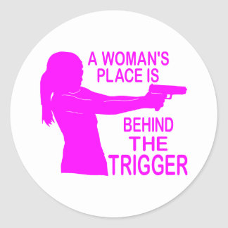 A WOMAN'S PLACE ROUND STICKER