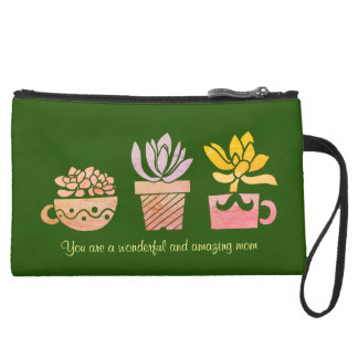 A wonderful and amazing mom suede wristlet