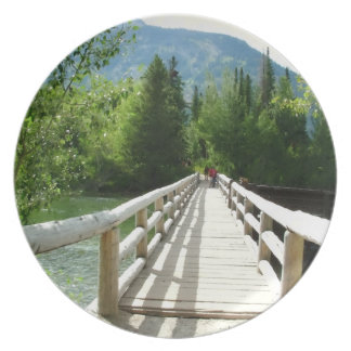 A wooden bridge in Grand Teton National Park. Party Plate