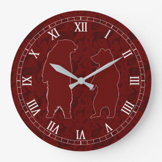 A Woodland Bear Couple in Deep Red Faux Glitter Wallclock