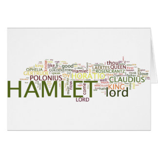 A Wordle based on Shakespeare's Hamlet Card