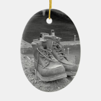 A Working Man's Boots Ceramic Ornament