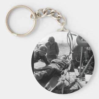 A wounded American is lifted onto_War Image Basic Round Button Keychain
