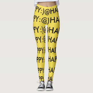A yellow, black, and @HAPPY:) leggings