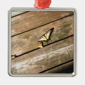 A yellow Butterfly Silver-Colored Square Ornament