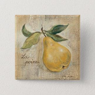 A Yellow Pear 2 Inch Square Button