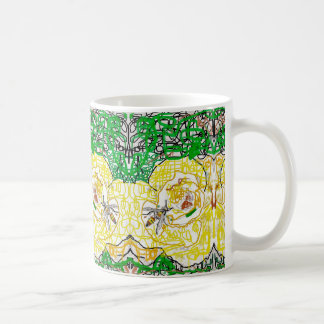 A yellow rose and a wasp coffee mug