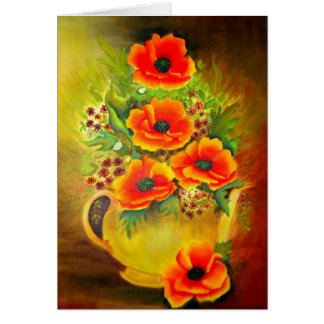 A Yellow Tea Pot filled with Red Poppies,Greenry Greeting Card