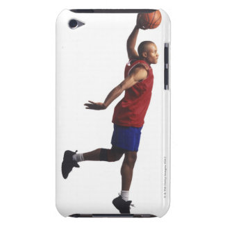 a young adult male basketball player flies iPod touch cases