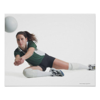 a young caucasian female volleyball player in a poster