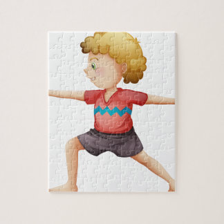 A young gentleman doing yoga jigsaw puzzle