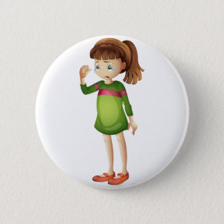 A young girl crying 2 inch round button